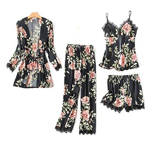 Pezzi La Pigiama Seta Sintetica Nuovo Seta Meaeo Sexy Sleepwear Per In 4 Di Floreale Pigiama Casa Photo Color Set Vestiti Femme In Donna Da TR55qwO