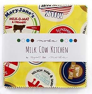 Moda Milk Cow Kitchen Charm Pack, Set of 42 5-inch (12.7cm) Precut Cotton Fabric Squares