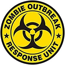 "1080GPHX Zombie Outbreak Response Unit Yellow 3"" Decal Control Team Gloss Vinyl StickerMade in USA"