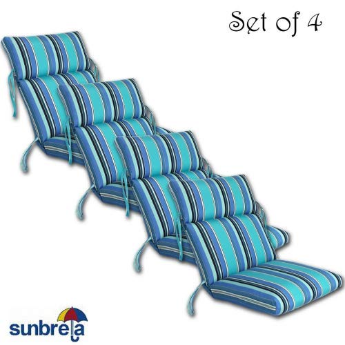 SET OF 4 OUTDOOR CHANNELED CHAIR CUSHIONS 22W x 44L x 3H Hinge at 24