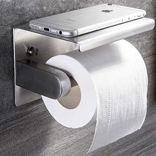 ZUNTO Toilettenpapierhalter mit Ablage Klopapierhalter Ohne Bohren Edelstahl WC Papierhalter Selbstklebend oder Wandmontage