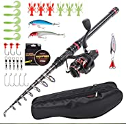 LEO Light Weight Kids Fishing Pole Telescopic Fishing Rod and Reel Combos with Full Kits Lure Case and Carry B