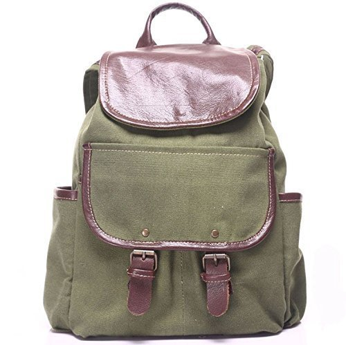 Green Canvas Leather Unisex Handmade Backpack