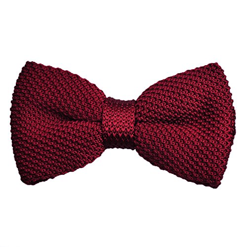 Men's Knit Bow Tie Pre-Tied Adjustable Necktie Fashion Accessory, Maroon
