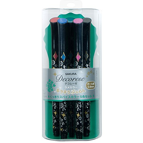 Sakura Ballpoint Pen for Decoration, Decorese Glitter 5 Color Set B, Spices Color (DB206G5B)