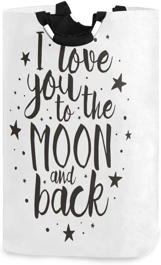 DAOPUDA Laundry Bag I Love You to The Moon and Back Motivational Valentines Lifestyle Large Laundry Hamper Bags for Heavy-Duty Use with Strap,Standing Clothes Basket Collapsible for Dorm Travel