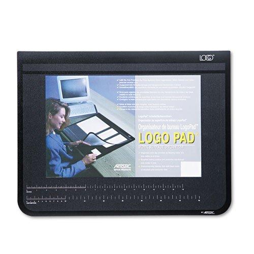 Logo Pad Desktop Organizer with Clear Overlay, 22 x 17, Black