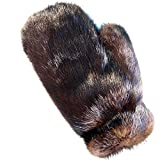 MinkgLove Mink Massage Glove, Silky and Textured Feel, Mahogany Brown Color, Hand Tailored, Unisex, One Size - Double Sided Fur