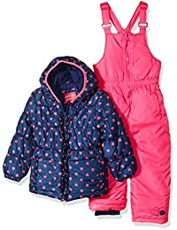 Pink Platinum girls Heart Print Snowsuit