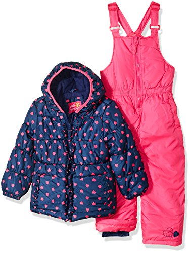 Pink Platinum Girls' Toddler Printed Super Snowsuit, Navy Heart, 3T