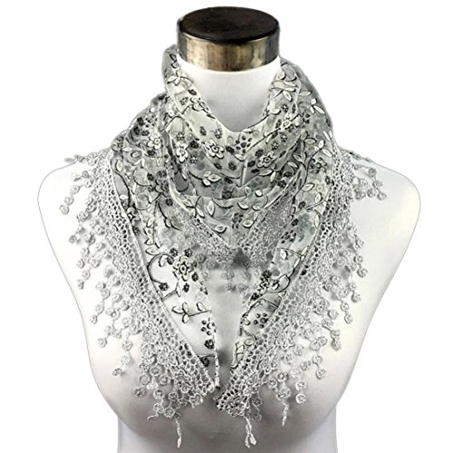 Ammazona Fashion Lace Tassel Sheer Burntout Floral Print Triangle Mantilla Scarf Shawl (P) (Lace Tassel)
