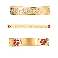 "Divoti Custom Engraved Lovely Filigree Olive PVD Gold 316L Medical Alert Bracelet - 6"" Cuff (fits 6.5-8.0"")"