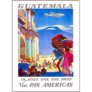 A SLICE IN TIME Guatemala Via Pan American Airlines Central Latin America Vintage Airline Travel Advertisement Collectible Wall Decor Poster Art Print. Measures 10 x 13.5 inches