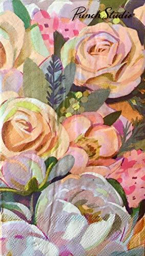 Medium Punch Flower (Punch Studio Sage Floral Bouquet Guest Towels Buffet Hostess Paper Napkins (12681), 32 ct)