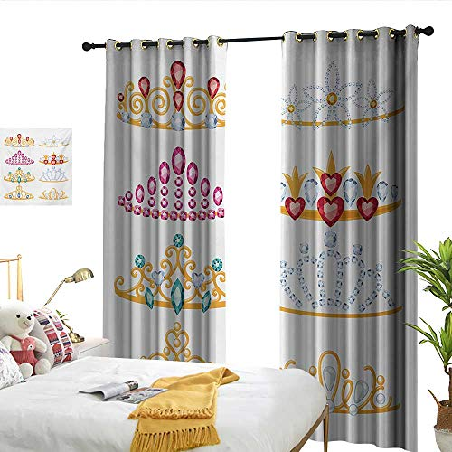 nsulated Drapes for Kitchen/Bedroom Golden Yellow Tiaras with Vivid Digital Gemstone Figures Collection Cartoon Suitable for Bedroom Living Room Study, etc.W96 x L108 ()