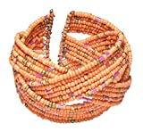 Pastel Peach Flexible Braided Seed Bead Cuff Bracelet with Gold-Tone and Pink Accents, 1 ½ Inches Wide