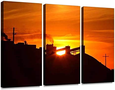 Amazon Com Sun Setting Behind Mosaic Potash Mine In Saskatchewan Print On Canvas Wall Artwork Modern Photography Home Decor Unique Pattern Stretched And Framed 3 Piece Posters Prints