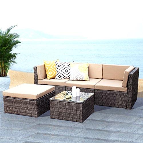 Outdoor Patio Furniture Set,Wisteria Lane 5 PCS Upgrade Garden Rattan Sofa Cushioned Seat Wicker Sofa with Coffee (Living Room Outdoor Sofa)