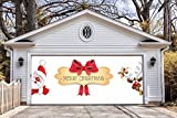 Merry Christmas Garage Door Covers Banners Outdoor Holiday Full Color Christmas Santa Claus Deer Decorations Billboard for 2 Car Garage Door House Art Murals size 82x188 inches DAV44