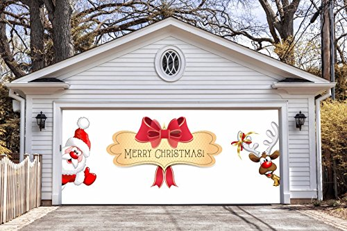Merry Christmas Garage Door Covers Banners Outdoor Holiday Full Color Christmas Santa Claus Deer Decorations Billboard for 2 Car Garage Door House Art Murals size 82x188 inches DAV44 by WallTattooHome