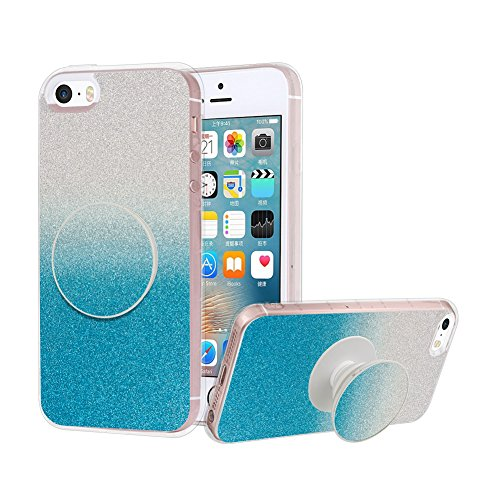 iPhone 5/5S/SE Case, Shockproof Glitter Luxury Bling Sparkle Protective Case with Pop Out Phone Stand Creative Design for Girls Children - Pop Glitter Out