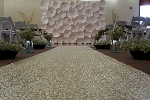 ShinyBeauty Aisle Runner-25FTX4FT-Matte Gold,aisle runner outdoor wedding,aisle runner for wedding,Sequin Aisle Runner,Aisle Runner Fabric (Matte Gold)