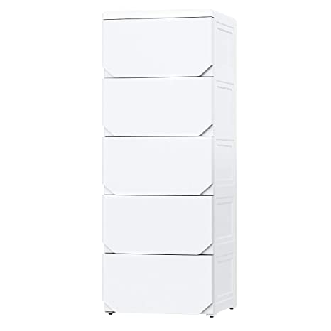 Nafenai 5 Drawer Dresser White,Plastic Storage Drawer Cabinet,Chest of Drawer for Bedroom/Livingroom/Batbroom,Free Standing Storage Organizer with ...