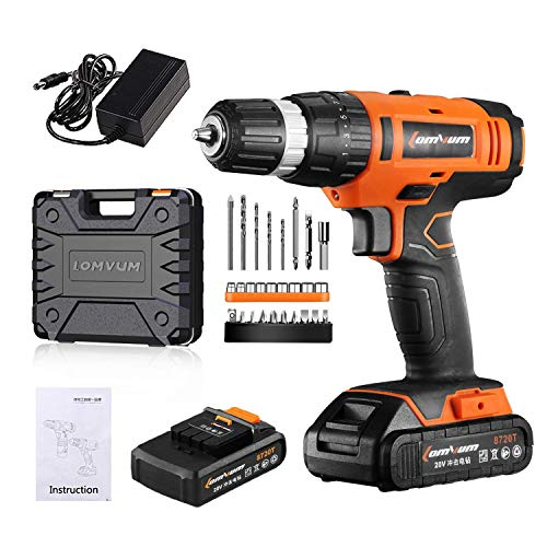 2 Hr Fast Charger - Cordless Drill, LOMVUM 20V Core Drill Set with 22.0Ah Lithium-Ion Battery,1 Hr Fast Charger,27pcs Accessories and Compact Case,Electric Drill Max Torque 55N.m 21+1 Torque Setting