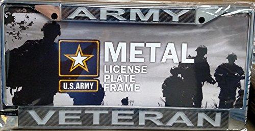 Army VETERAN Carbon Fiber LASER FRAME Chrome Metal License Plate Cover Military by Stockdale
