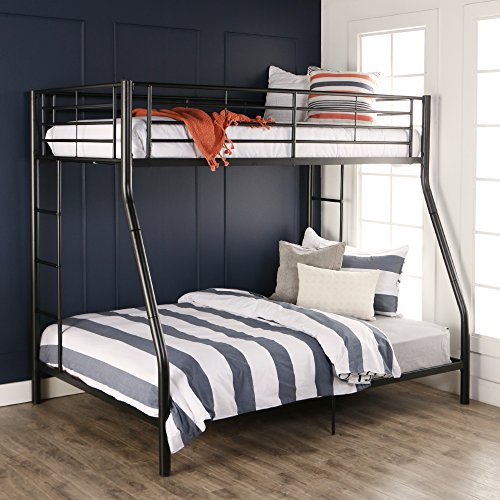 Sturdy Metal Twin Over Double Bunk Bed In Black Finish