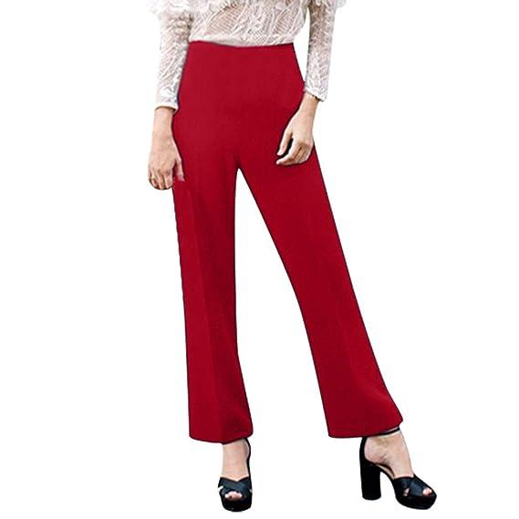 Waiimak Pantalones de Trabajo Casuales Sueltos con Pierna Ancha ...