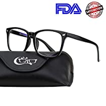 CGID CT82 Horn Oversized Blue Light Blocking Glasses,Better Sleep, Anti Glare Fatigue Blocking Headaches Eye Strain,Safety Glasses for Computer/Phone,Vintage Bold Black Frame,TransparnetLens
