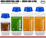 Organic Nutrients For Marijuana Plants – Liquid Fertilizer For Hydroponic, Vegetables, Fruit & Cannabis – (4PACK) Root Stimulator, Healthy Growth, Abundant Flowering, Growers Kit Orga Grow Holland