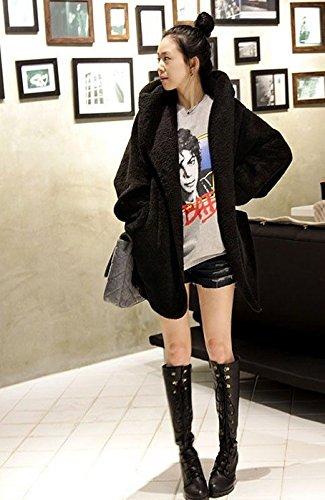 Invierno La Negro Cálido Gruesa Capucha Cinturón Mujer Abrigo De Felpa Con Capa Loose Piel XxTOfB