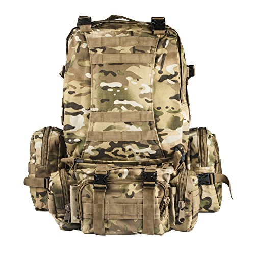 CVLIFE Outdoor 60L Built-up Military Tactical Backpack Army Rucksacks 3 Day Assault Pack Combat Molle Backpack Pouch for Hunting Trekking Camping Surplus Bug Out Bag
