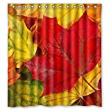 img - for Red Green Yellow Maple Leaf Polyester Waterproof Shower Curtain 66