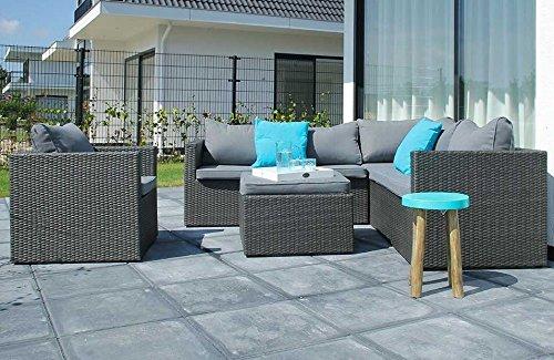 Salon de jardin Canapé en résine tressée 6 places(angle+fauteuil ...