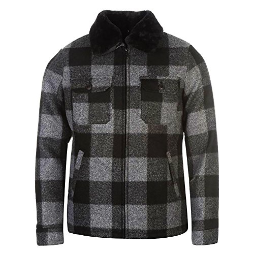 Pierre Cardin Mens Warm Winter Tartan Wool Blend Flannel Check Slim Fit Jacket with Quilted Lining and Detachable Fake Fur Collar (2XL, Black/Grey)