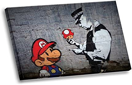 Banksy Street Graffiti Super Mario Brothers Mushroom HD Canvas Wall Art