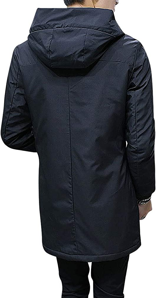 Mancave Men Green Blue Or Black Button Up Pocketed Fur Hood Puffer Padded Jacket