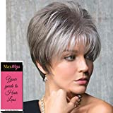 Samy Wig Color Sandy Silver - Noriko Wigs 4' Short Sleek Chic Pixie Tapered Nape Grazing Fringe Synthetic Avg Cap Bundle MaxWigs Hairloss Booklet