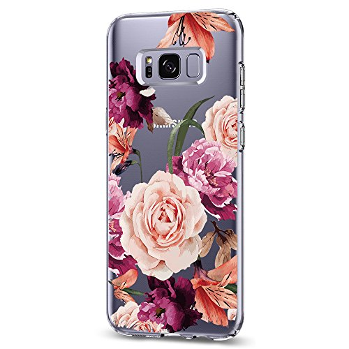 Riyeri Hülle Compatible with Samsung Galaxy S8 Plus Hülle Cover Klar Slim Fit TPU Silikon Bumper Handyhülle für Samsung S8 Phone - Blume (S8, 9)
