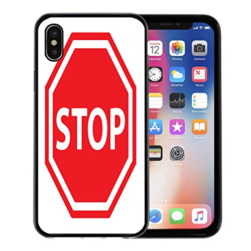 Semtomn Phone Case for Apple iPhone Xs case,Red Traffic Stop Sign Access Admission Area Boundary Clipart for iPhone X Case,Rubber Border Protective - Signs Traffic Clipart