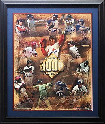 3000 Hit Club 11 Auto Framed 25x30 Photo BAS A71136 - Beckett Authentication - Autographed MLB Photos