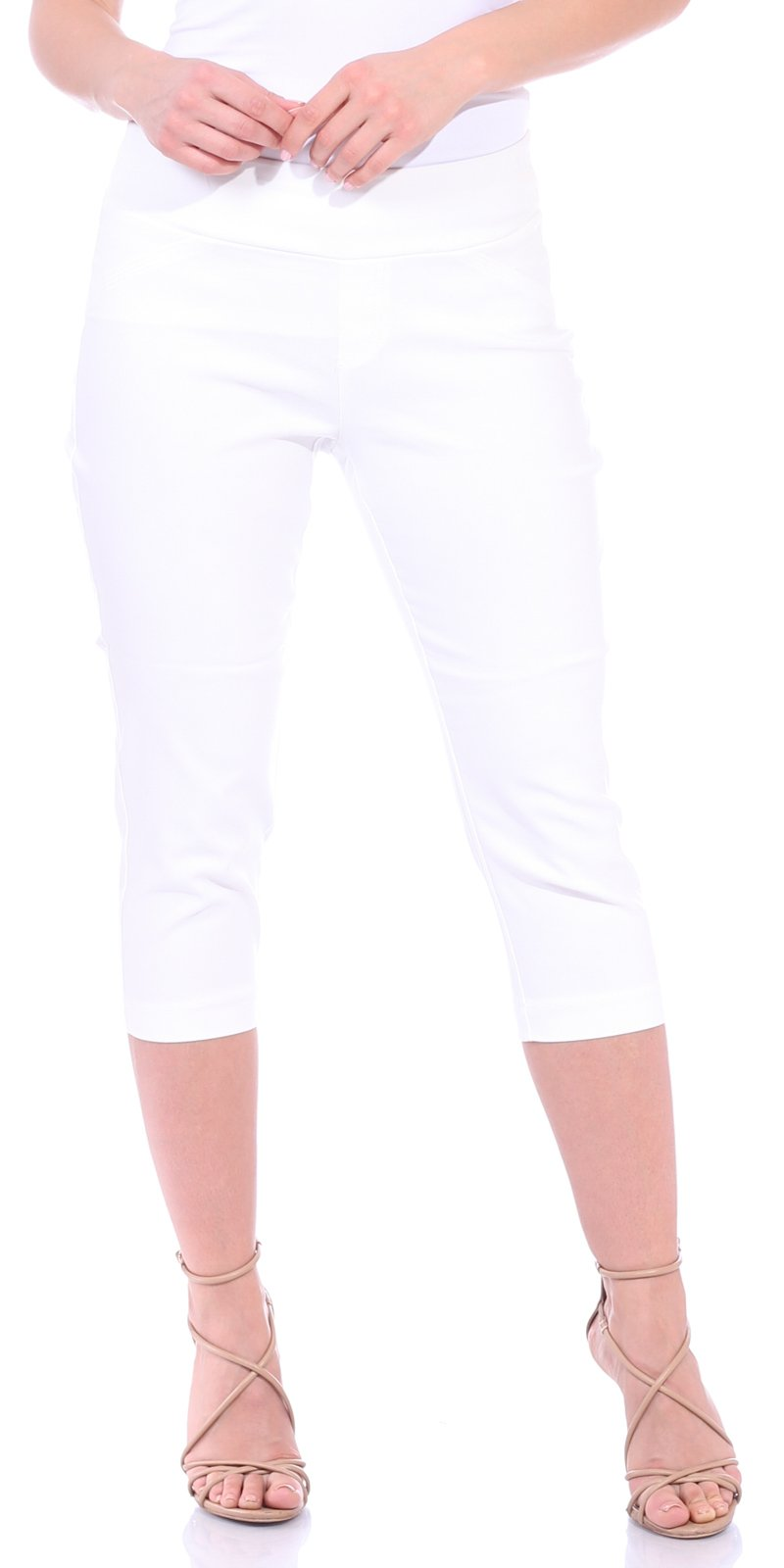 One5One Women's Shaping Stretch Pull On Dress Capri Pants Miracle Ab Shaper White Large (12-14)
