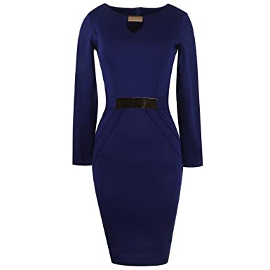 8fba8888eb Plus Women s Elegant Metal Buckle Neck Long Sleeve Work Dress Bodycon  Pencil Dresses Wedding Cocktail Party