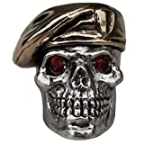 Green Beret with Red Rhinestone Eyes Paracord / Lanyard Bead in .925 Sterling Silver & Bronze by GD Skulls