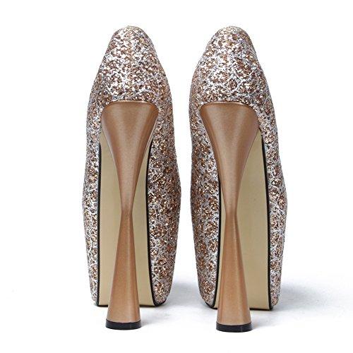 fereshte Womens Closed Toe Paillette Platform Super Block High Heel Pump Wedding Shoes Gold CuSeadoET