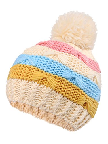 Younglove Boys/Girls Hat Kids and Toddlers' Diamond Cable Knit Beanie, Cream Stripes by YoungLove (Image #2)