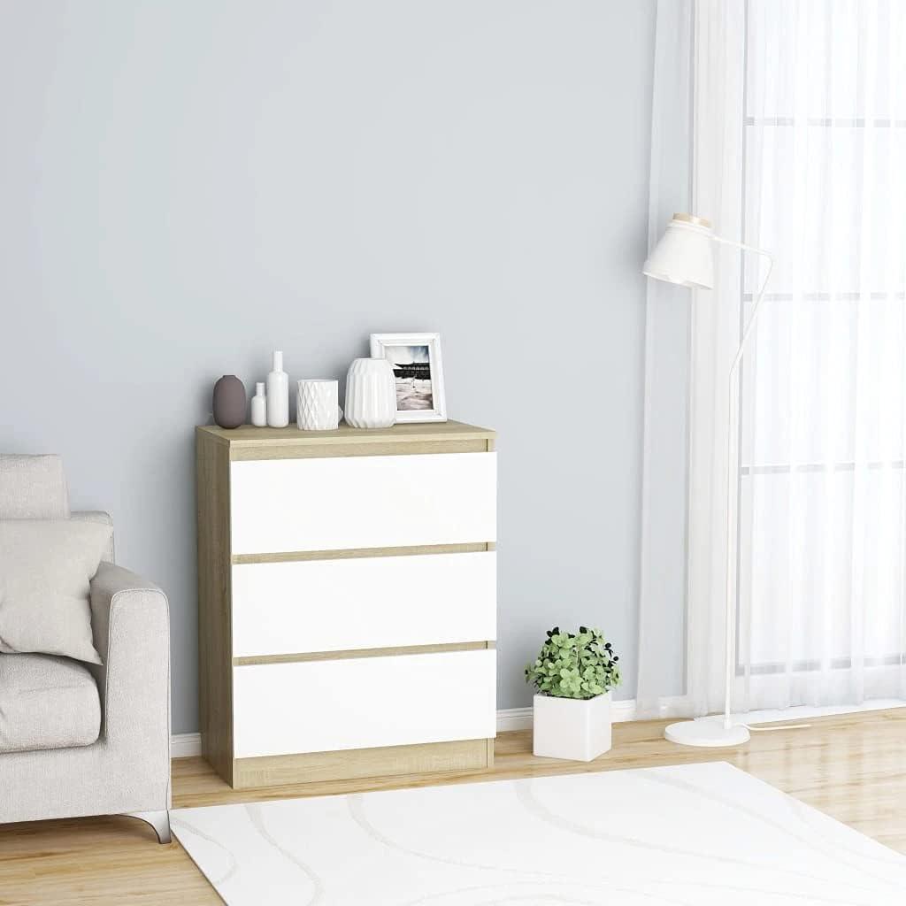 vidaXL Sideboard mit 3 Schubladen Kommode Anrichte Schrank Schubladenschrank Mehrzweckschrank Standschrank Weiß Sonoma-Eiche 60x35x76cm Spanplatte